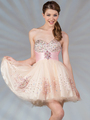 JC022 Dual Color Short Prom Dress - Nude Pink, Front View Thumbnail