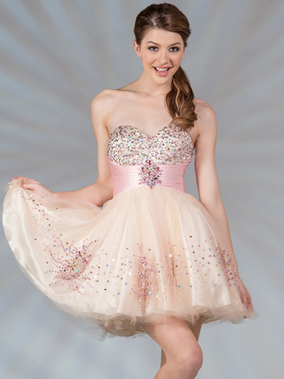 JC022 Dual Color Short Prom Dress - Nude Pink, Front View Medium