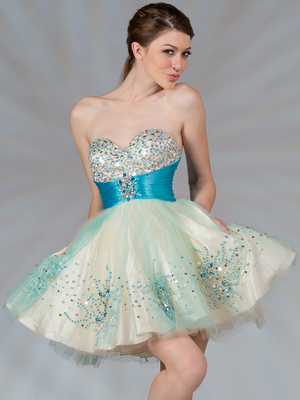 JC022 Dual Color Short Prom Dress, Nude Turquoise