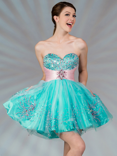 JC022 Dual Color Short Prom Dress - Turquoise Pink, Front View Medium