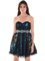 JC030 Strapless Net Overlay Short Homecoming Dress - Turquoise, Front View Thumbnail