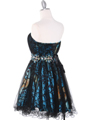 JC030 Strapless Net Overlay Short Homecoming Dress - Turquoise, Back View Thumbnail