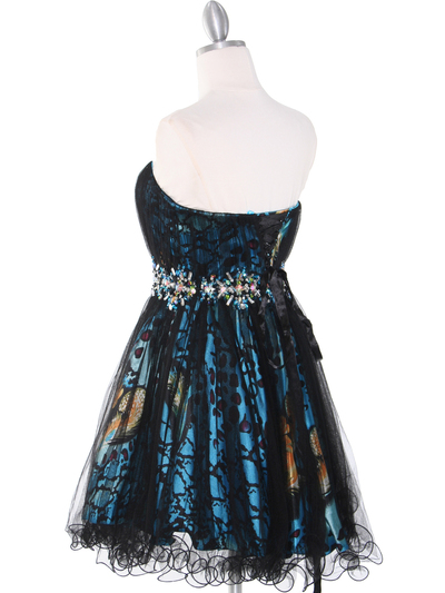 JC030 Strapless Net Overlay Short Homecoming Dress - Turquoise, Back View Medium