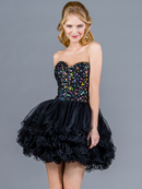 Black Jeweled Corset Short Prom Dress
