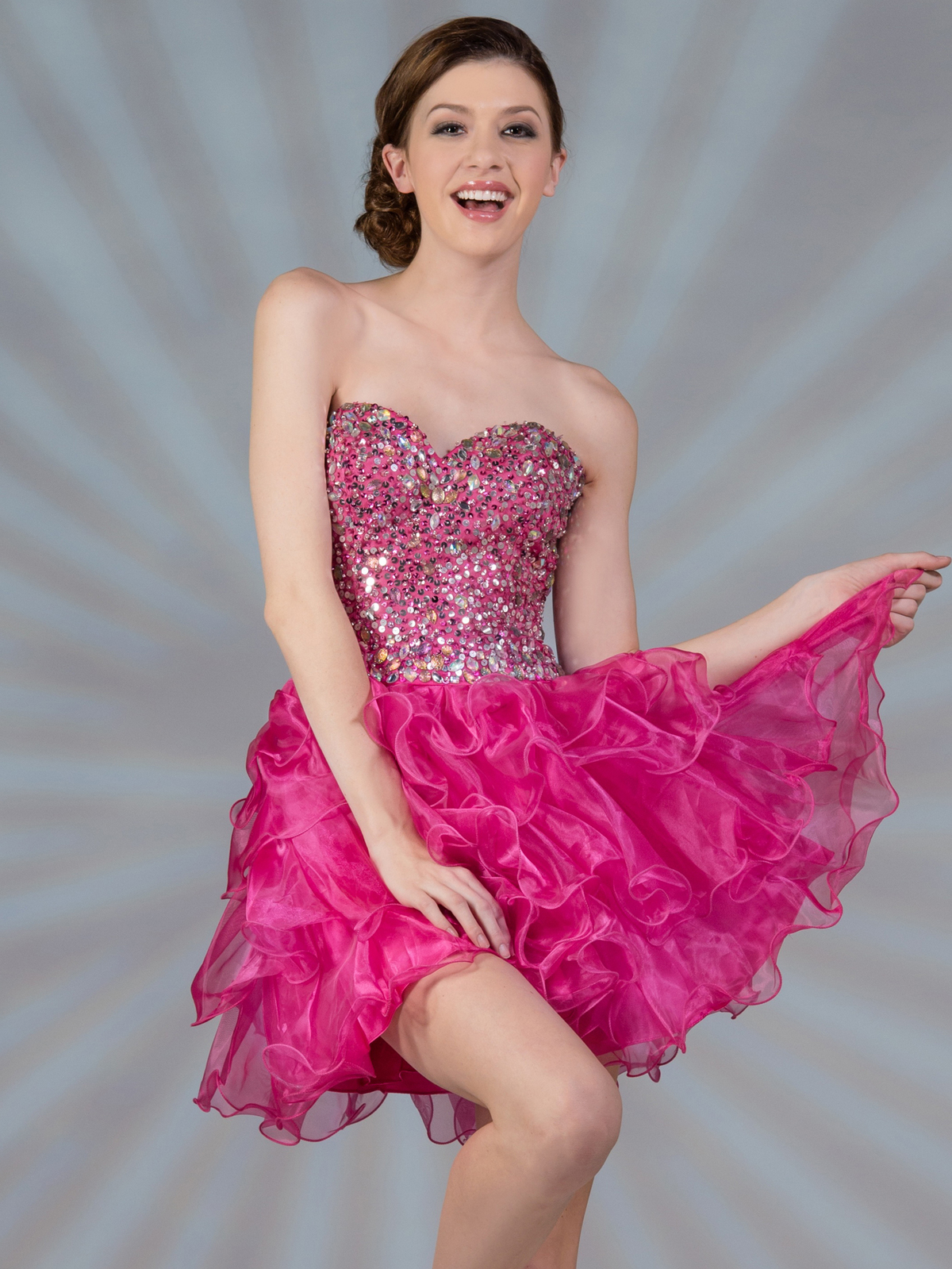 Sweetheart Beaded Fuschia Short Prom Dress | Sung Boutique L.A.