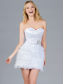 White Feathered Cocktail Dress