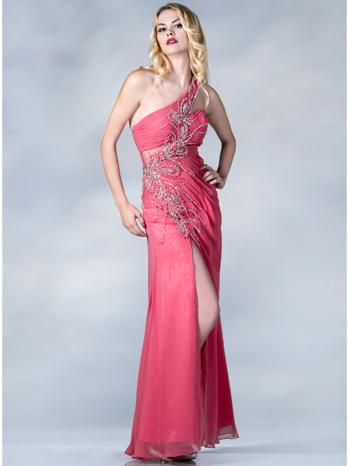 One Shoulder Beaded Evening Dress | Sung Boutique L.A.