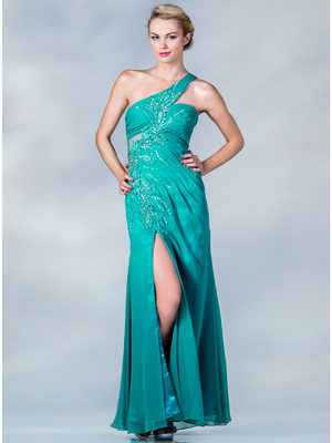 JC120 One Shoulder Beaded Evening Dress, Jade