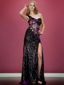 One Shoulder Black Sequin and Feather Evening Dress