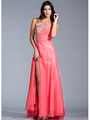 JC142 Jeweled and Pleated Prom Dress - Coral, Front View Thumbnail
