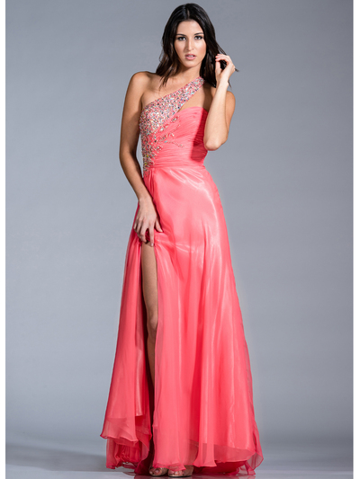 JC142 Jeweled and Pleated Prom Dress - Coral, Front View Medium
