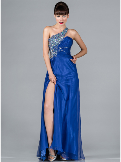 JC142 Jeweled and Pleated Prom Dress - Royal Blue, Front View Medium