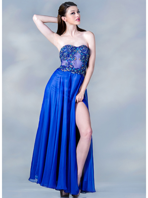 JC1481 Beaded Sheer Bodice Evening Dress, Royal