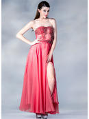 Beaded Sheer Bodice Evening Dress