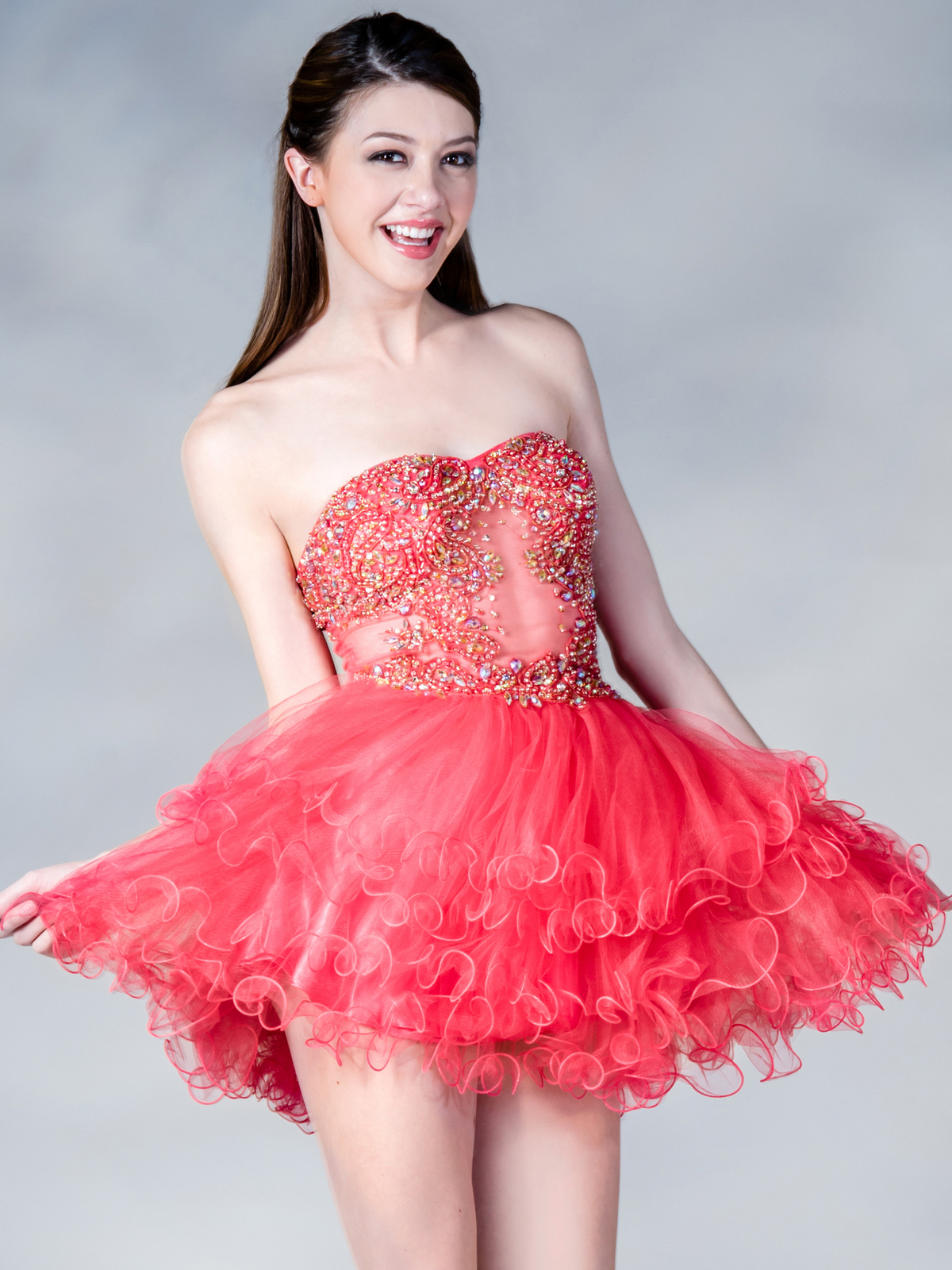 jc148 sheer beaded party dress coral front view medium