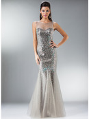Silver Sweetheart Illusion Neckline Mermaid Evening Gown