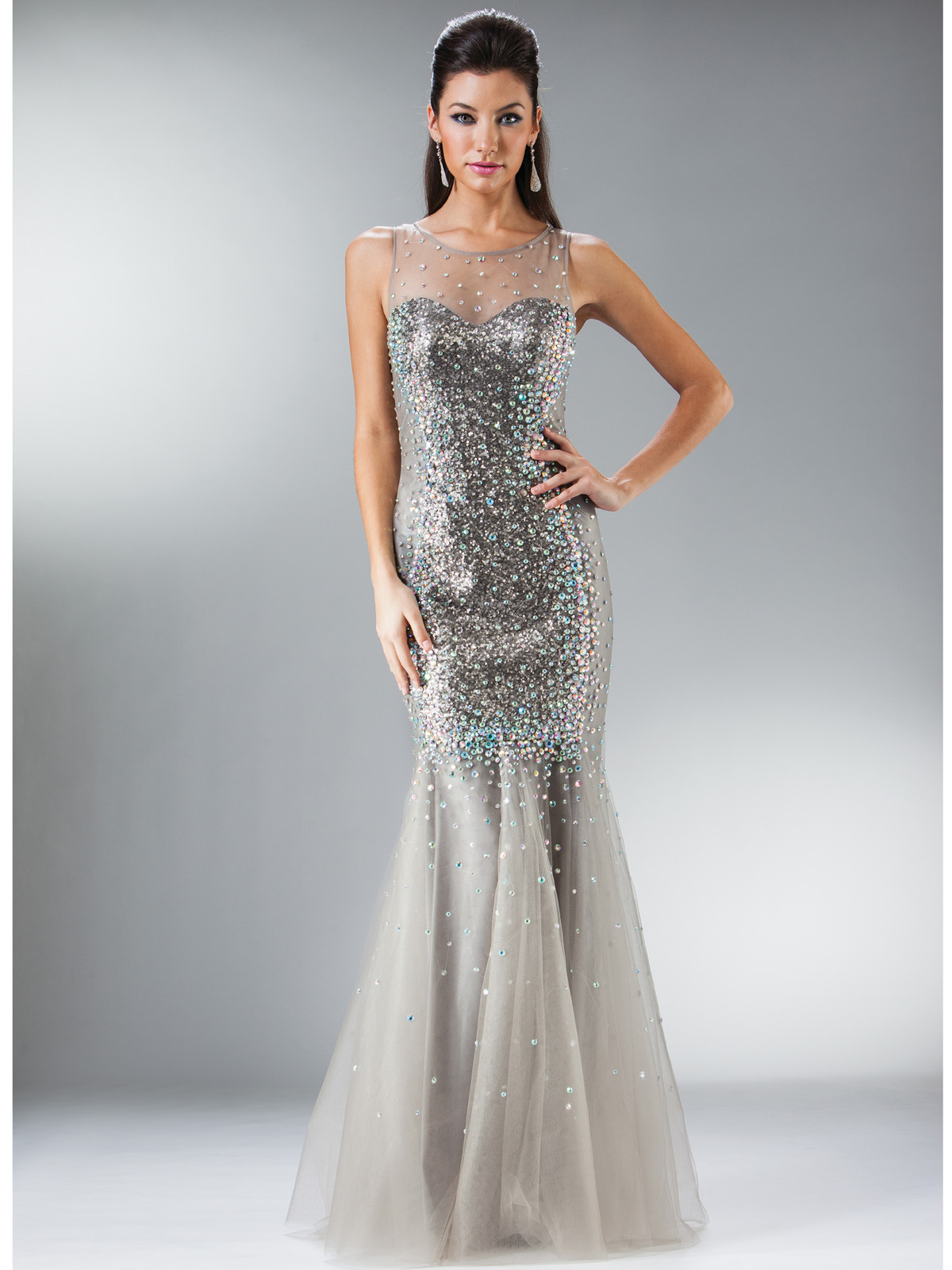Silver Sweetheart Illusion Neckline Mermaid Evening Gown | Sung ...
