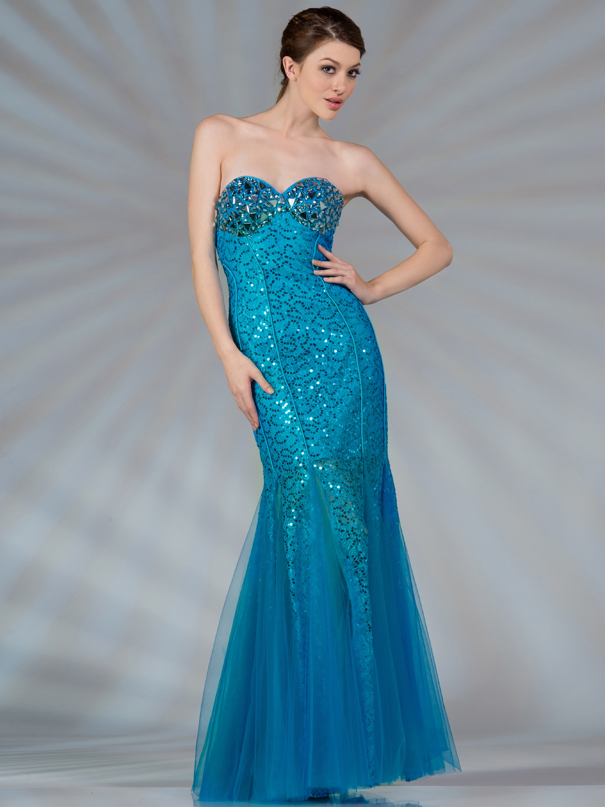 Blue Mermaid Jeweled and Sequin Prom Dress - Sung Boutique L.A.