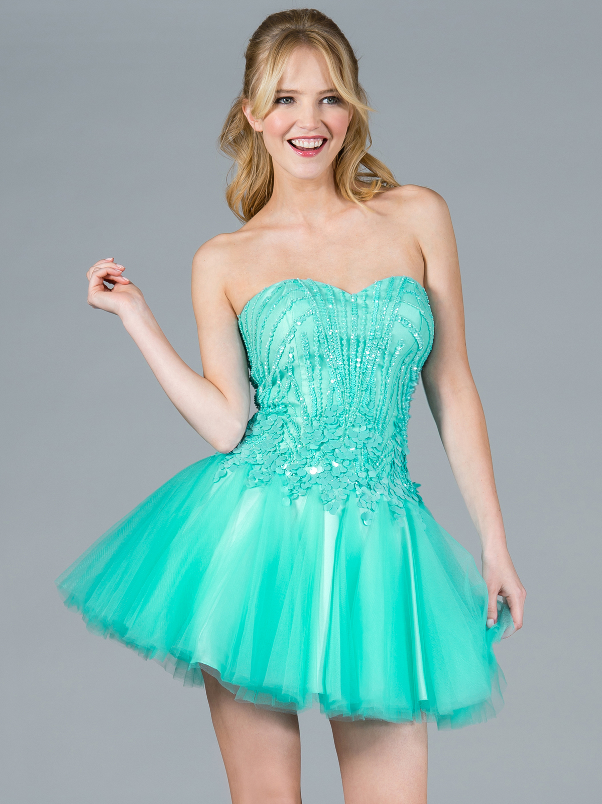 Mint Sequin and Mesh Short Prom Dress | Sung Boutique L.A.