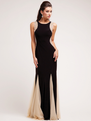 JC2253 A Black Tie Affair Evening Dress, Black Nude