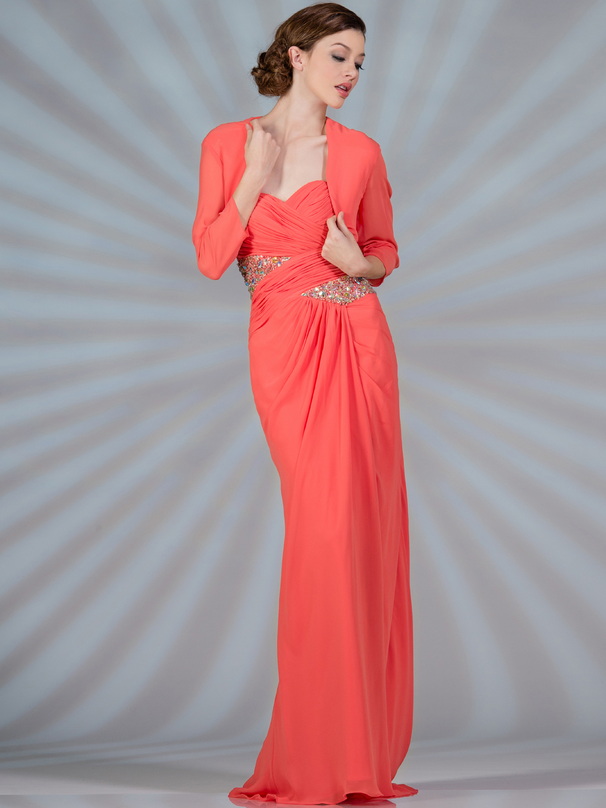 Ruched Jeweled Chiffon Evening Dress with Bolero - Sung Boutique L.A.