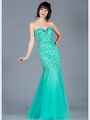 Mint Sequin and Bead Mermaid Prom Dress
