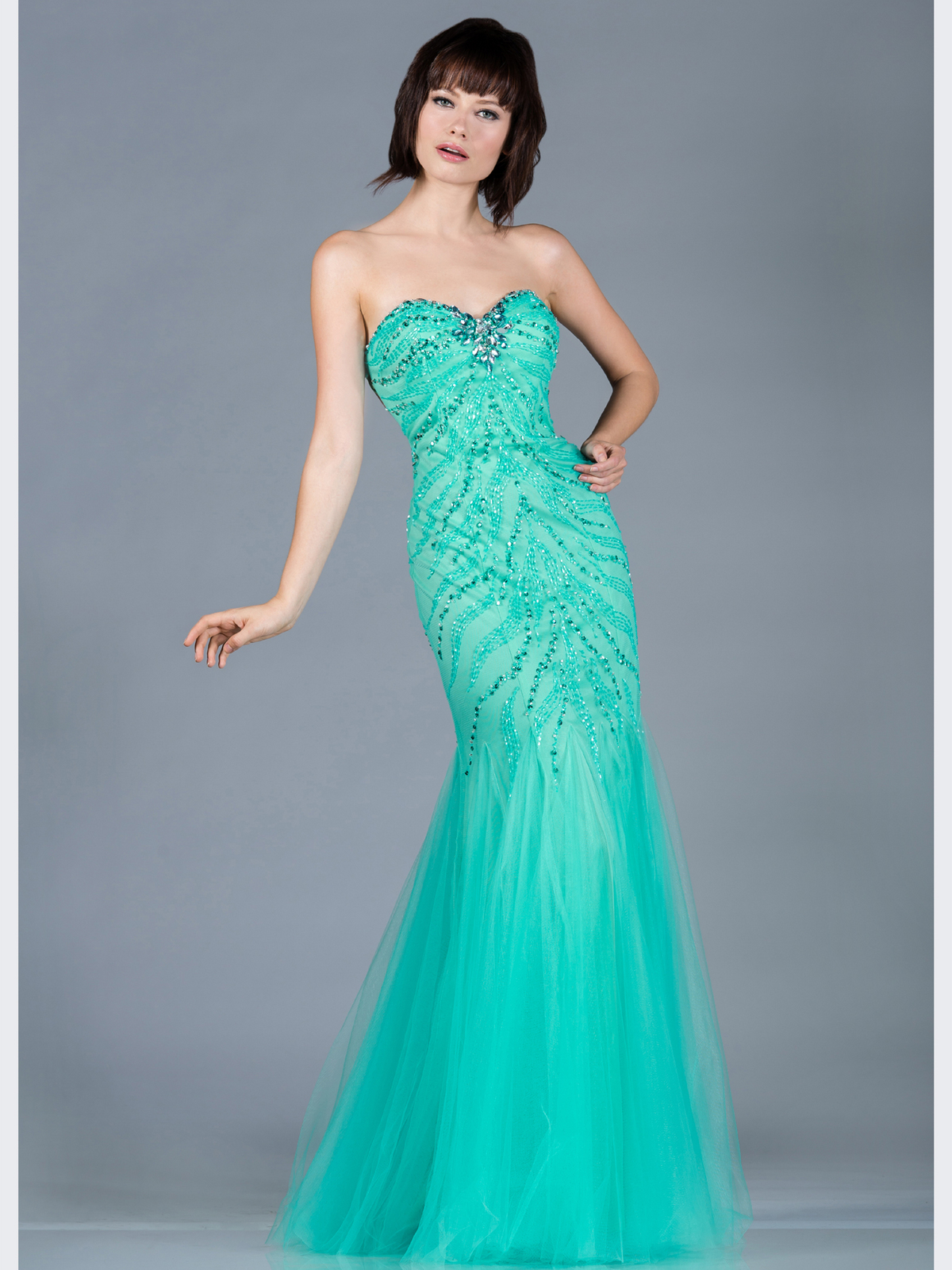 Mint Sequin and Bead Mermaid Prom Dress | Sung Boutique L.A.