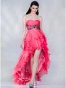Neon Empire Waist High Low Prom Dress
