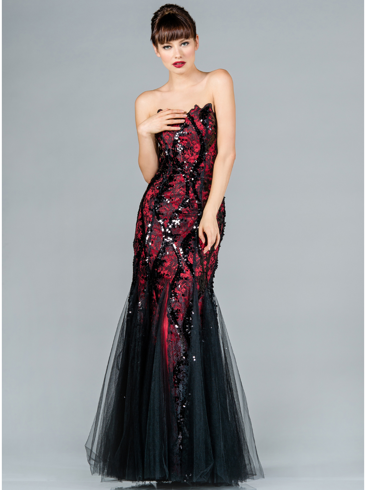 Black and Red Lace Prom Dress | Sung Boutique L.A.