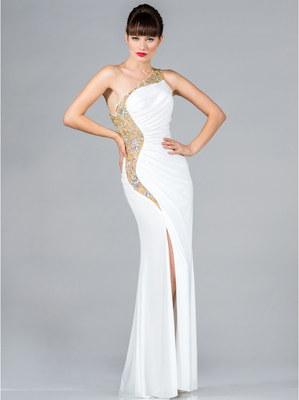 JC2430 Ivory and Gold One Shoulder Prom Dress, Ivory Gold