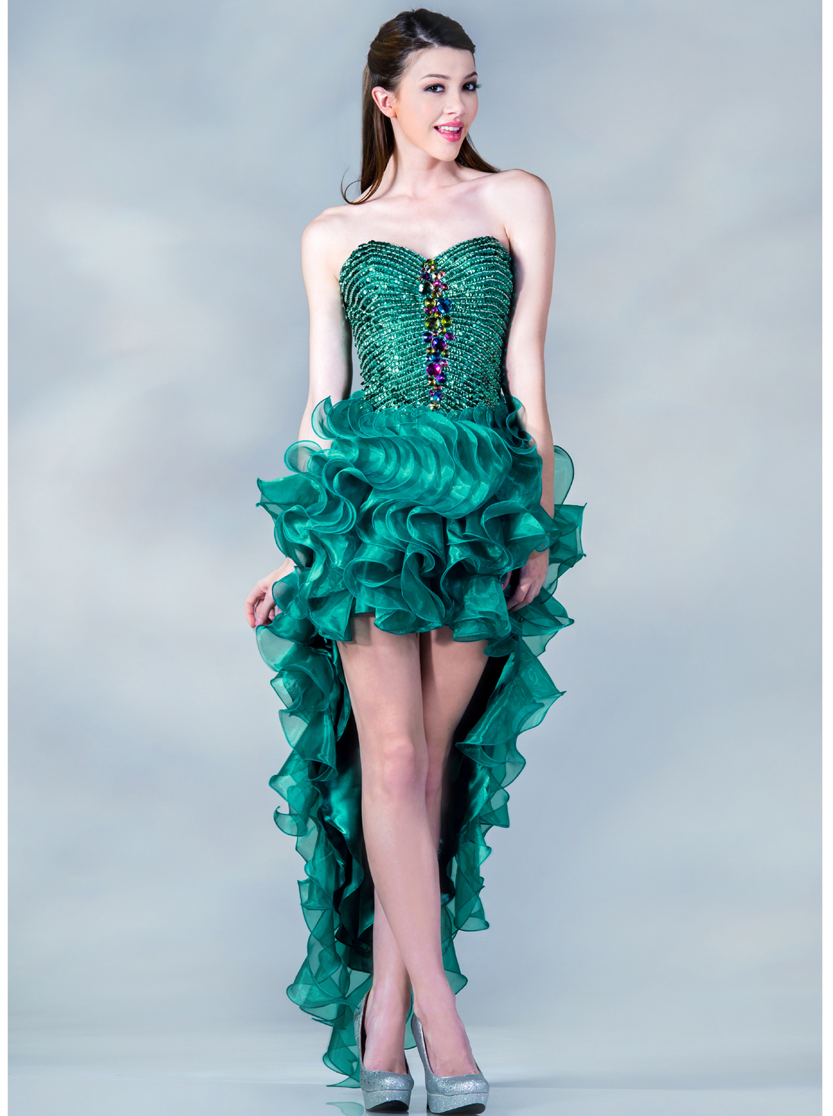 Teal High Low Prom Dress | Sung Boutique L.A.