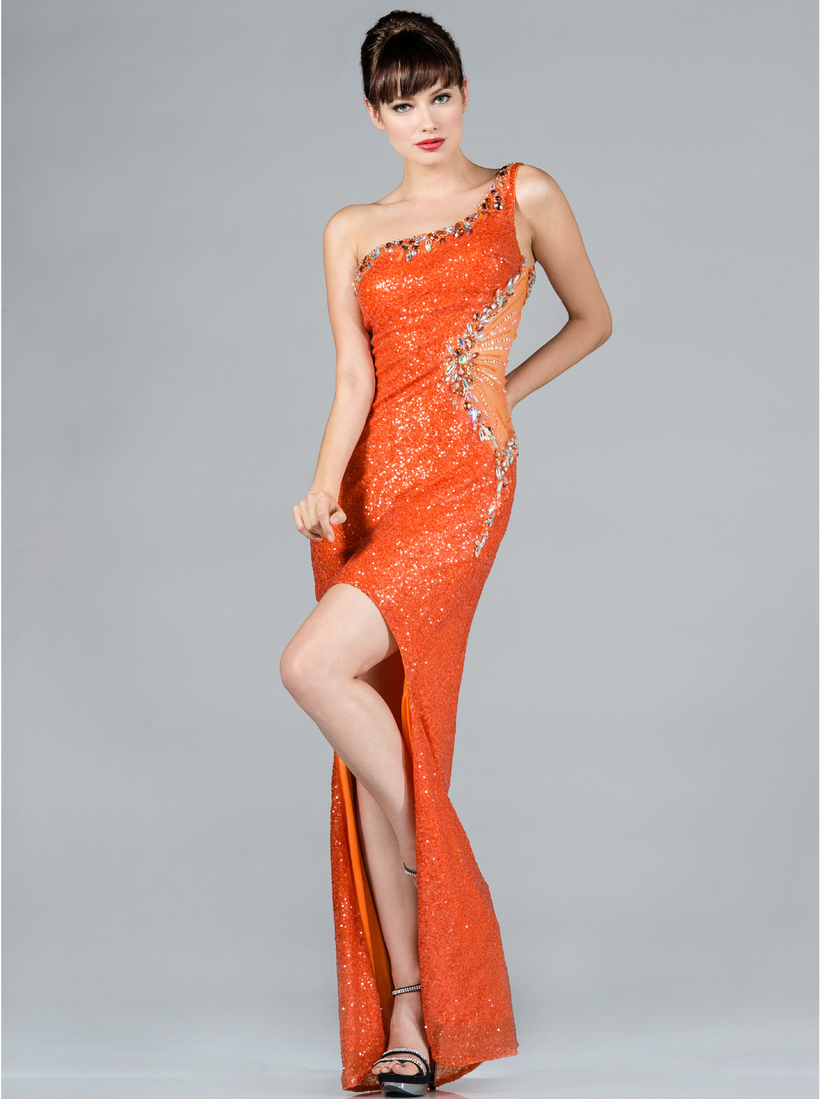 Orange One Shoulder Sequin High Low Evening Dress | Sung Boutique L.A.