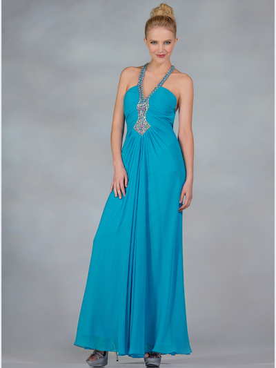 Chiffon halter evening dress sung boutique l a for Ocean blue wedding dress