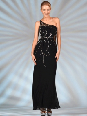 JC2501 One Shoulder Black Formal Evening Dress, Black