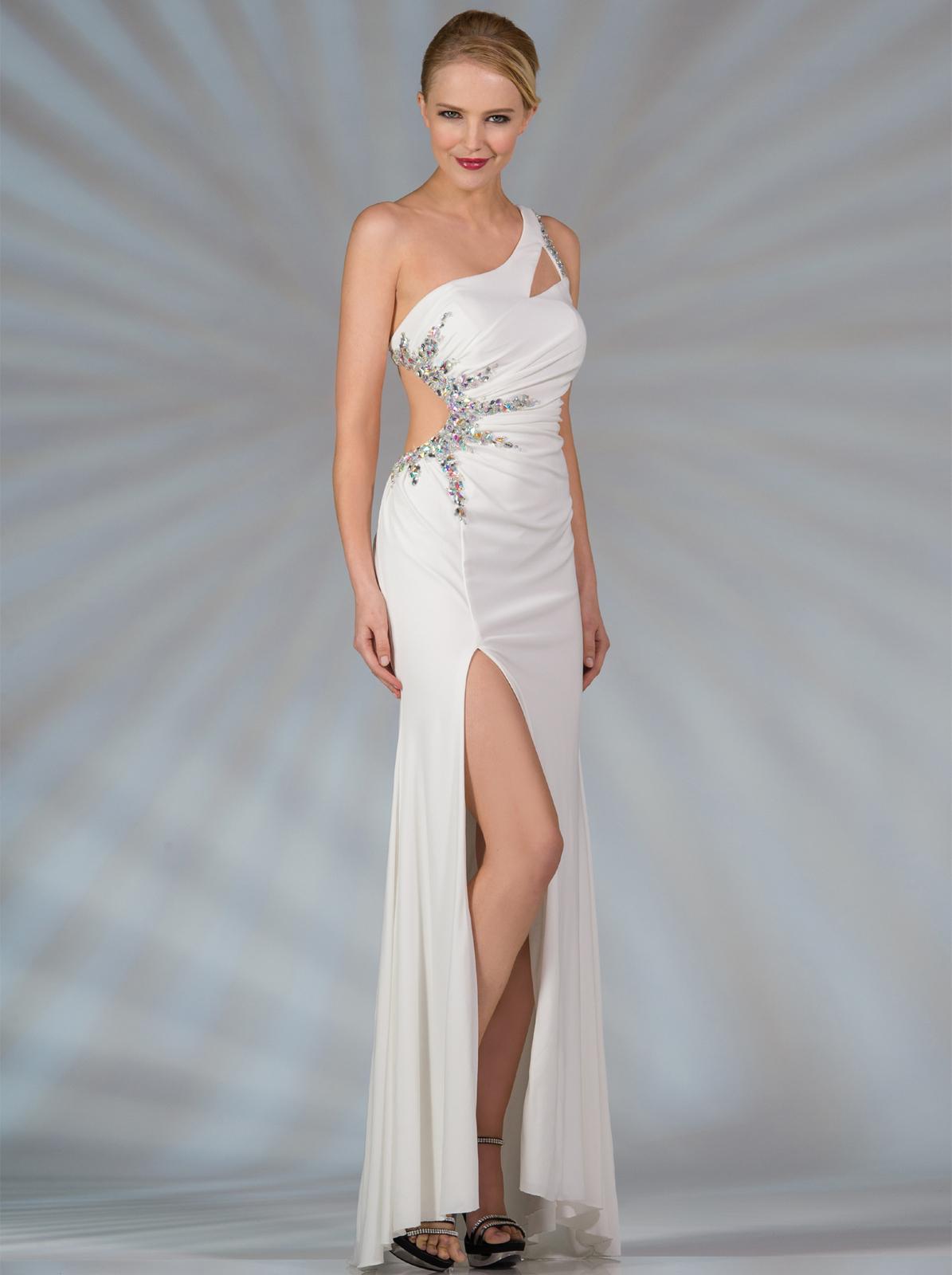 Off White One Shoulder Long Formal Dresses