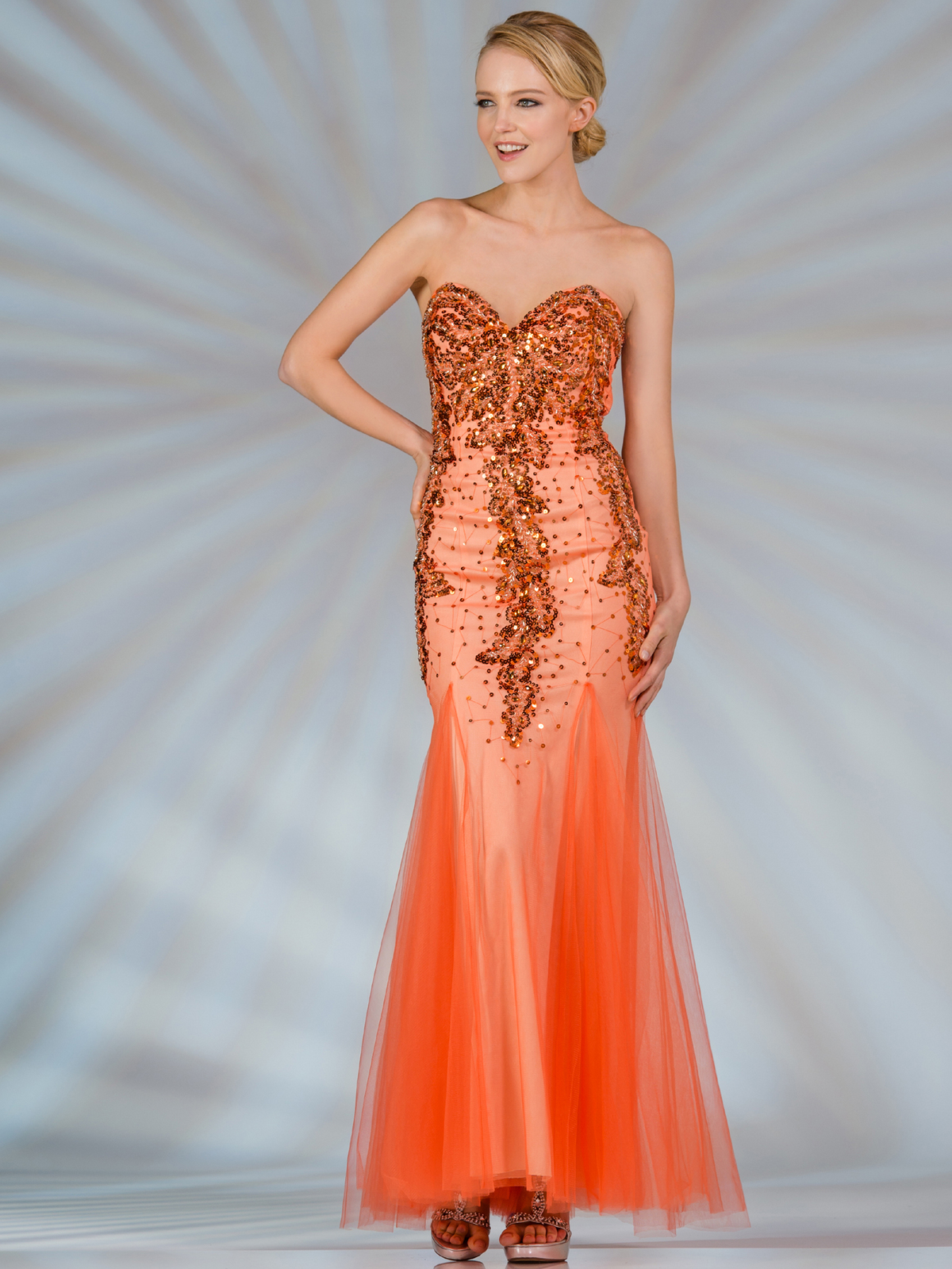 Orange Strapless Mermaid Prom Dress | Sung Boutique L.A.