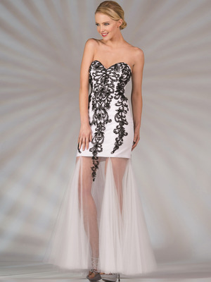 JC2511 Sweetheart Strapless Embroidery Evening Dress, Black White