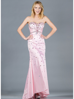 JC2512 Baby Pink Jeweled Prom Dress, Baby Pink
