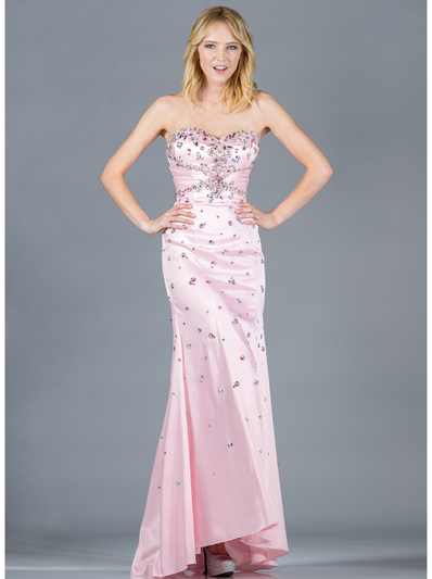 JC2512 Baby Pink Jeweled Prom Dress - Baby Pink, Front View Medium