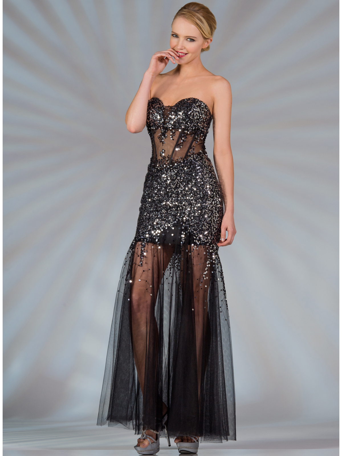 Sheer Sequined Corset Dress  Sung Boutique L.A.