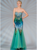 Blue and Green Sequin Mermaid Prom Dress