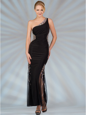 JC2540 Beaded Sides Evening Dress, Black