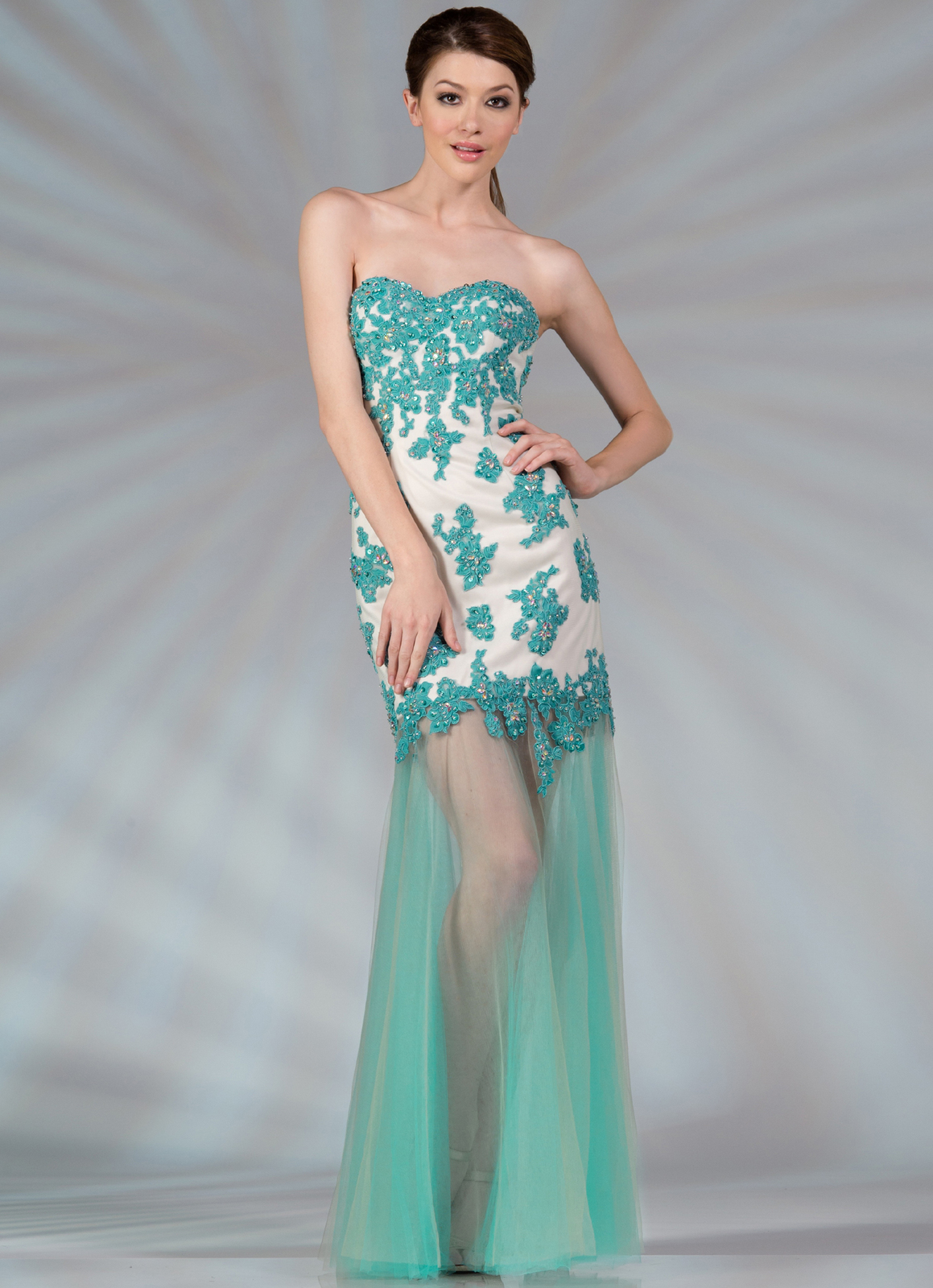 Blue vintage floral prom dress - Best Dressed