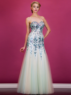 JC2555 Sequined Overlay Trumpet Prom Gown, Nude Mint