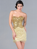 Gold Sequin and Fringe Cocktail Dress