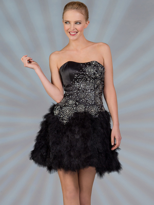 JC309 Black Feathered Cocktail Dress, Black