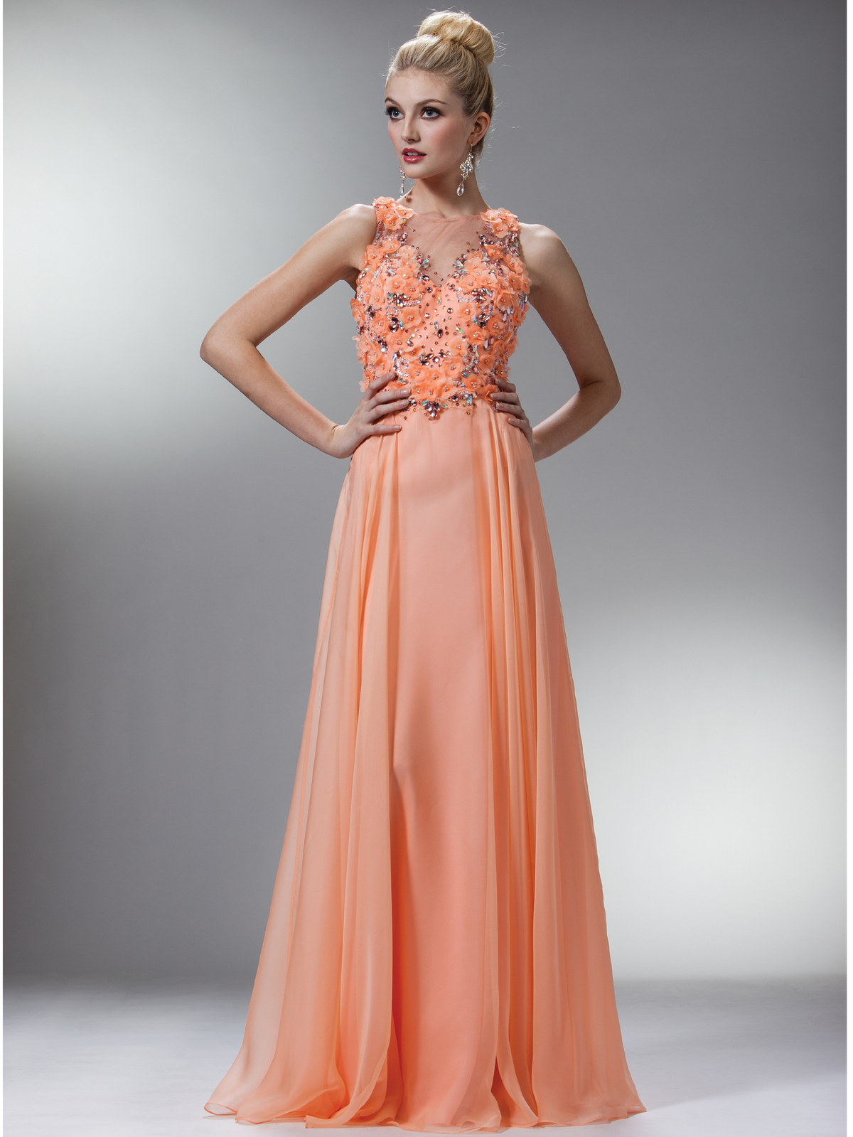 Light Coral Dainty Draping Evening Dress | Sung Boutique L.A.