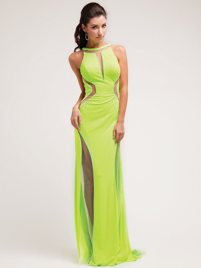 JC3227 Sheer Special Occasion Evening Dress - Neon Green, Front View Medium