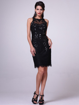 JC3455 Illusion Yoke Embroidery Sheath Dress        , Black
