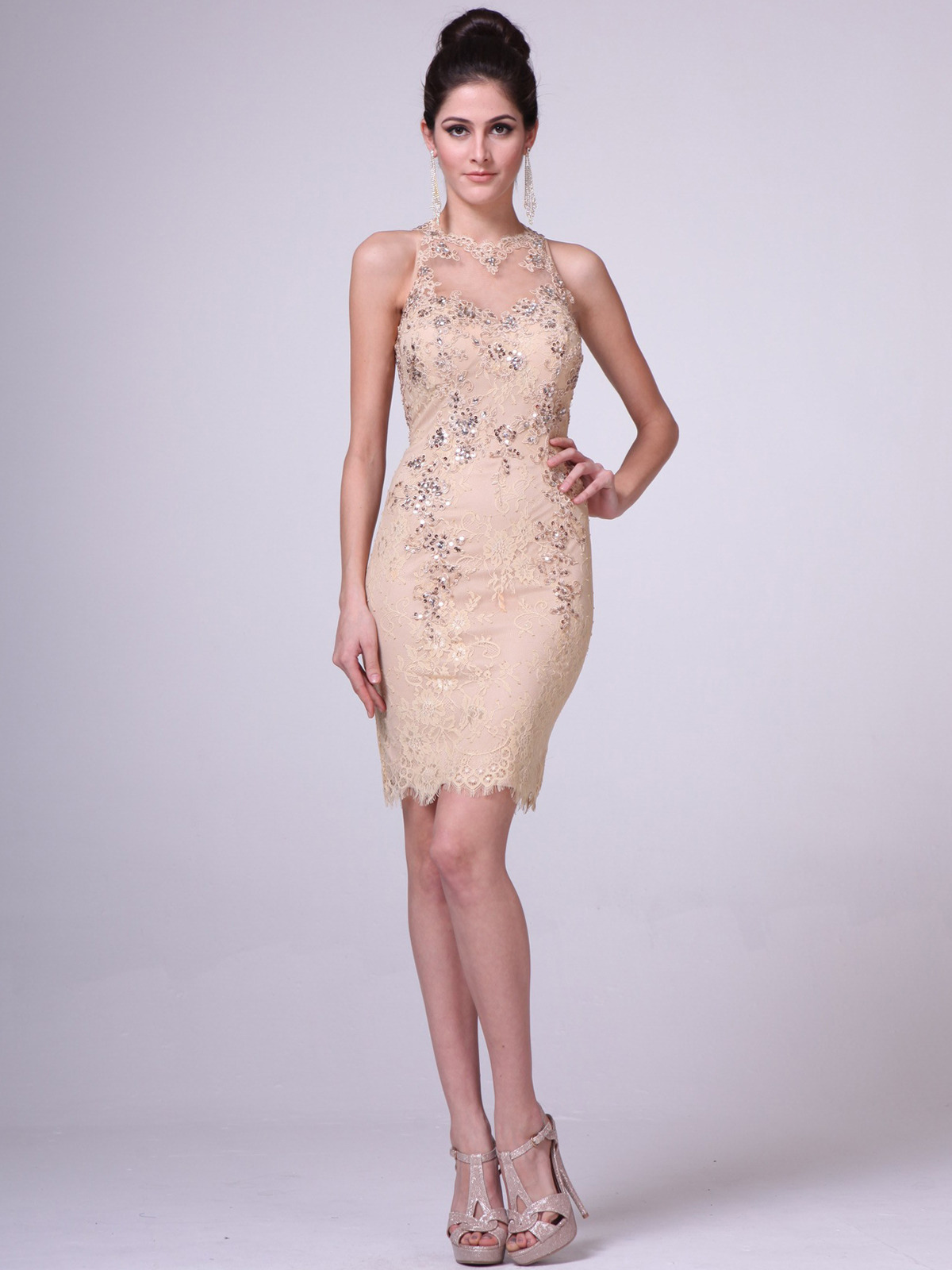 Illusion Yoke Embroidery Sheath Dress | Sung Boutique L.A.